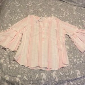 Women's pink and white striped blouse medium NWT